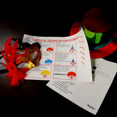 caccia al tesoro di carnevale da stampare per bambini
