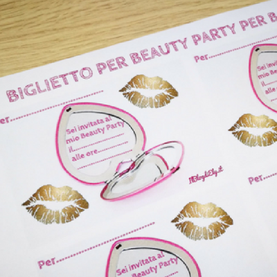 biglietto beauty party per bambine
