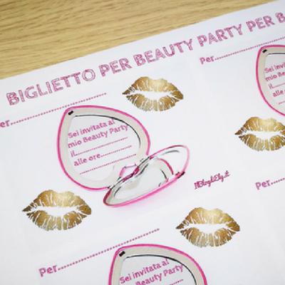 biglietto beauty party per bambine