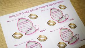 biglietto invito beauty party per bambine